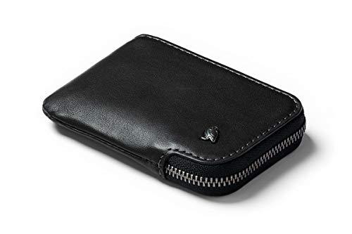 Bellroy Leather Card Pocket Wallet, Schlanke Brieftasche mit Reißverschluss (Max. 15 Karten, Fach für Scheine und Münzen) - Black