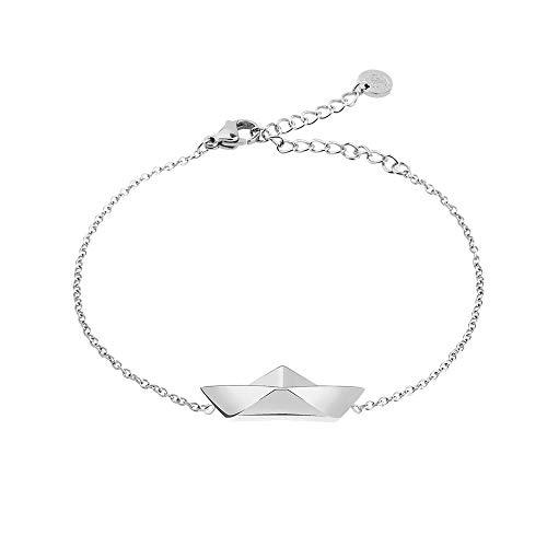 PAUL HEWITT Armkette Damen Silber Ahoy - Edelstahl Armband Damen mit Damen Schmuck Anhänger in Silber aus Edelstahl (Papierboot)