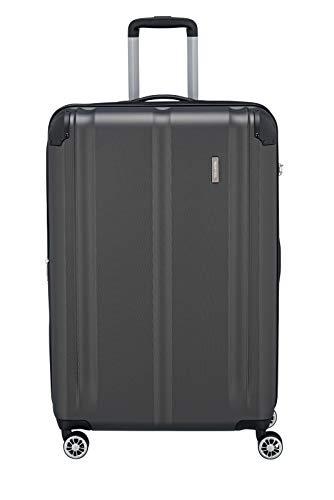 Travelite 4-Rad Koffer L mit TSA Schloss + Dehnfalte, Gepäck Serie CITY: Robuster Hartschalen Trolley mit kratzfester Oberfläche, 073049-04, 77 cm, 113 Liter (erweiterbar auf 124 L), anthrazit (grau)