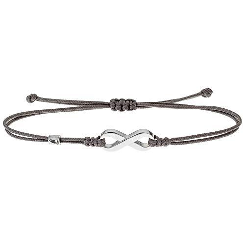 Wind Passion Maritim Glücksbringer Knoten Schnur Stoffarmband, Grau Freundschaft Unendlichkeitszeichen Armband für Damen, Herren, Mädchen