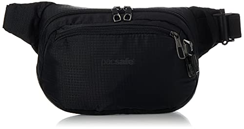 Pacsafe Vibe 100 - Anti-Diebstahl Hüfttasche, Diebstahlschutz Hipbag, 210D Nylon Ripstop, Umhängetasche Tasche, Schwarz/Jet Black
