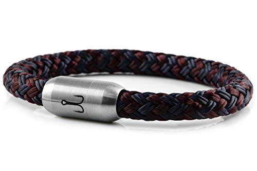 Fischers Fritze Armband Segeltau Makrele Marineblau dunkelrot - Handgemacht im Geschenkkarton I Maritim & Wasserfest, 22.0