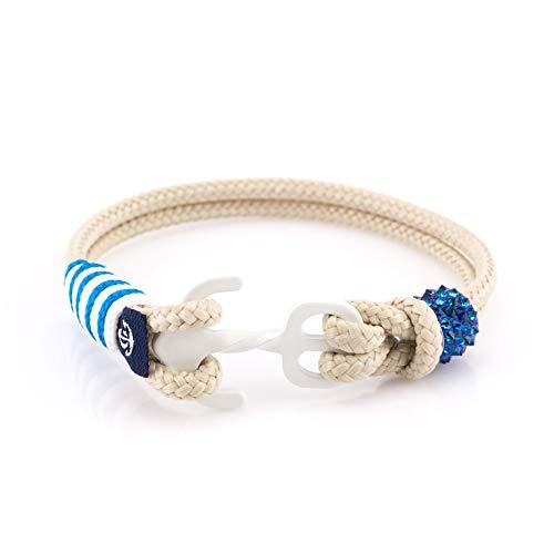 CONSTANTIN NAUTICS SAIL WITH US Maritimes Armband aus Segeltau, handgemacht, für Damen, mit Edelstahl Ankerverschluss und Swarovski Schmuckstein CNB #7083 16 cm