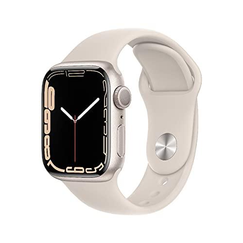 AppleWatch Series7 (GPS, 41mm) - Aluminiumgehäuse Sternenlicht, Sportarmband Sternenlicht - Regular