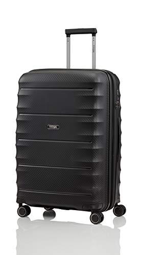 TITAN 4-Rad Koffer Größe M erweiterbar mit TSA Schloss, Gepäck Serie HIGHLIGHT: Leichte Hartschalen Trolleys im Carbon Look, 842405-01, 67 cm, 73 Liter (erweiterbar auf 79 Liter), black (schwarz)