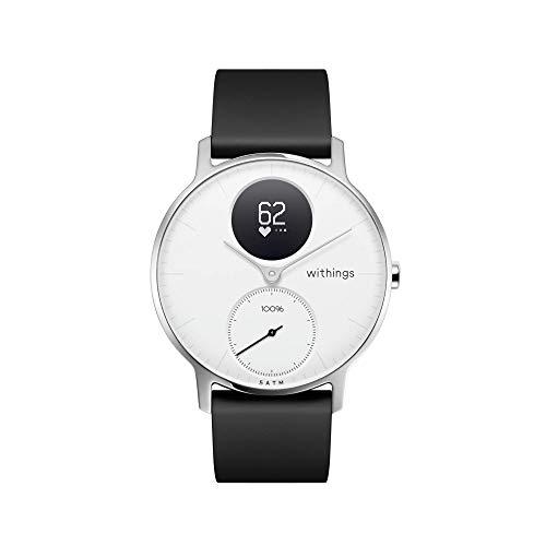 Withings Steel HR Hybrid Smartwatch - Fitnessuhr mit Herzfrequenz und Aktivitätsmessung, 36mm - Weißes, Schwarz Silikonarmband
