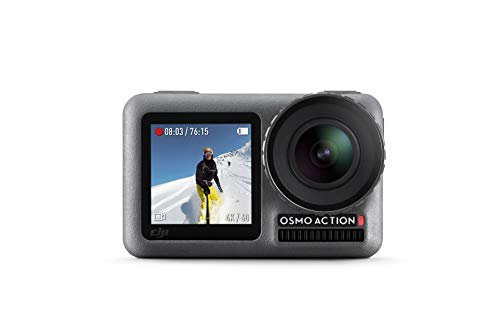 DJI Osmo Action Cam - Digitale Actionkamera mit 2 Bildschirmen 11m wasserdicht 4K HDR-Video 12MP 145° Winkelobjektiv Kamera, Schwarz