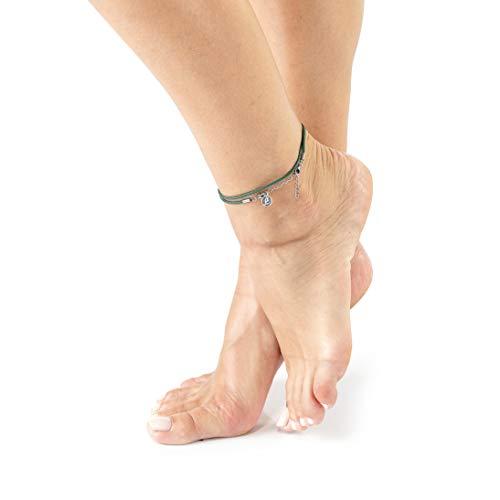 Wind Passion Fußkettchen Damen, Grün Wasserdicht Einstellbar Seil Knöchel Armband Fußschmuck für Frauen, Mädchen