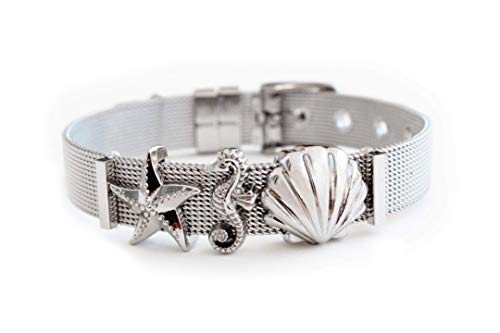 LIKERY'Oceanlover' Schmuck-Set   Charmband mit drei maritimen Charms – Muschel, Seestern, Seepferdchen   Erhältlich in Silber, Gold, Rosé Gold   Farbe: Silber