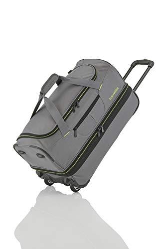 travelite 2-Rad Trolley Reisetasche Gr. L mit Dehnfalte, Gepäck Serie BASICS: Weichgepäck Reisetasche mit Rollen mit extra Volumen, 096276-04, 70 cm, 98 Liter (erweiterbar auf 119 Liter) grau