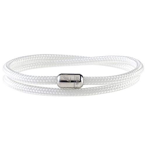 Wind Passion Armband Weiß Paracord Nautic mit Edelstahl Magnetverschluss für Männer und Frauen, Größe Small
