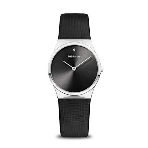 BERING Damen Analog Quarz Classic Collection Armbanduhr mit Satin Armband und Saphirglas 12130-602