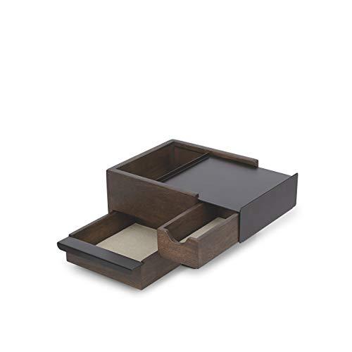 Umbra Stowit Mini Design Schmuckkasten – moderne Schmuck Box mit Geheimfächern für Ringe, Armbänder, Uhren, Halsketten, Ohrringe und Accessoires, Holz / Metall, Schwarz / Walnuβ