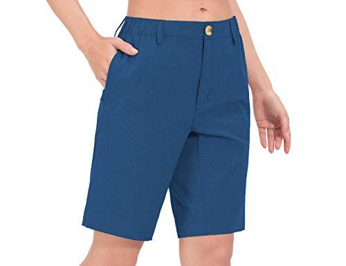Little Donkey Andy Damen Leichte schnell trocknende Bermudashorts UPF 50 Stretch-Shorts für Golf Wanderen Reise, Blau Heide L