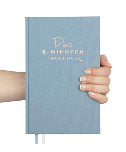 Das 6-Minuten Tagebuch PUR | Dankbarkeitstagebuch, Anti-Stress Tagebuch | Täglich 6 Minuten für deine Persönlichkeitsentwicklung, mehr Entspannung & Achtsamkeit (aquarellblau)