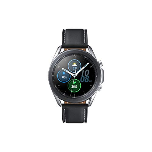 Samsung Galaxy Watch 3, Runde Bluetooth Smartwatch für Android, drehbare Lünette, Fitnessuhr, Fitness-Tracker, 45 mm, Mystic Silver. 36 Monate Herstellergarantie (Deutche Version)[Exkl. bei Amazon]
