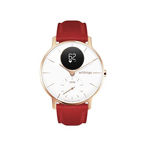 Withings Steel HR Hybrid Smartwatch - Fitnessuhr mit Herzfrequenz und Aktivitätsmessung, 36mm - Weiß - Saphirglas - Limited Edition, rot Lederband