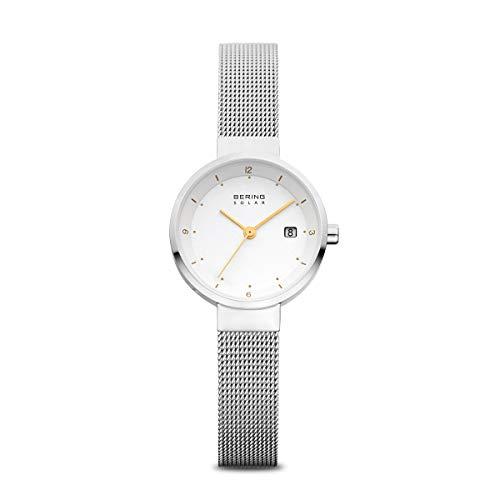 BERING Damen Analog Solar Collection Armbanduhr mit Edelstahl Armband und Saphirglas 14426-001