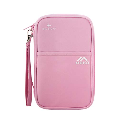 MoKo Reisepasshülle, Polyester Passport Hülle RFID-Blocker Reisepass Tasche mit Handschlaufe & Griff, Mehrere Fächer Reisetasche für Reisepass, Kreditkarten, Ausweis und Reisedokumente - Rosa