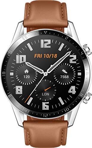 HUAWEI Watch GT 2 Smartwatch (46mm Full-Color-AMOLED, SpO2-Monitoring, Herzfrequenzmessung, Musik Wiedergabe&Bluetooth Telefonie, 5ATM wasserdicht, GPS) Pebble Brown [Exklusiv+5 EUR Amazon Gutschein]