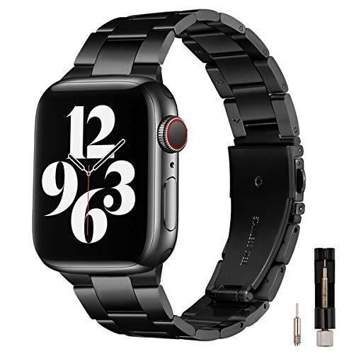 GEARYOU Metall Armband Kompatibel mit Apple Watch Armband 44 mm 42 mm 40 mm 38 mm, Business-Armband aus Edelstahl Kompatibel mit iWatch Serie 6/5/4/3/2/1, SE (42mm 44mm,Schwarz)
