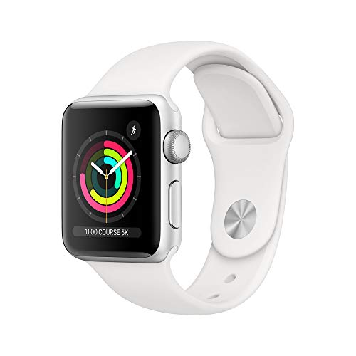 AppleWatch Series3 (GPS), 38mm Aluminiumgehäuse, Silber, mit Sportarmband, Weiß