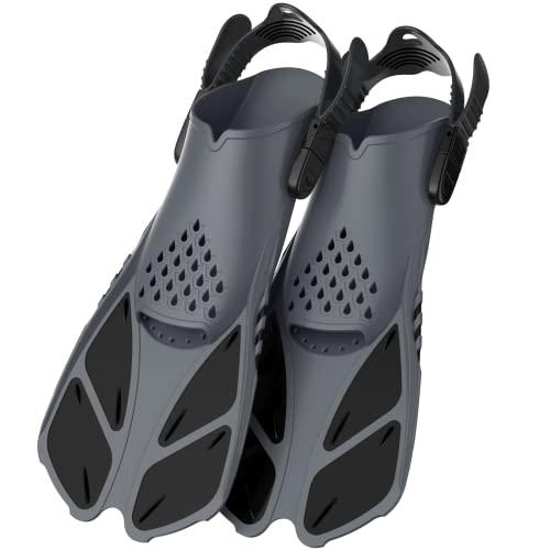 Greatever Schnorchelflossen, Verstellbare Flossen Kurze Schwimmflossen Unisex Taucherflossen für Erwachsene Kinder zum Tauchen Schwimmen Schnorcheln