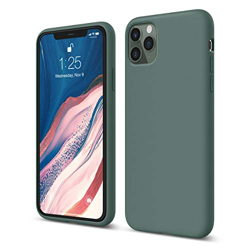 elago Liquid Silicone Case Kompatibel mit iPhone 11 Pro Max Hülle (6,5'), Silikon Handyhülle, Rundumschutz : 3-Layer Schutzhülle (Nachtgrün)