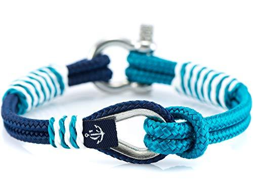 CONSTANTIN NAUTICS SAIL WITH US Maritimes Armband aus Segeltau, handgemacht, für Damen und Herren, mit Edelstahl Schäkel-Verschluss 3mm CNB #726 18 cm