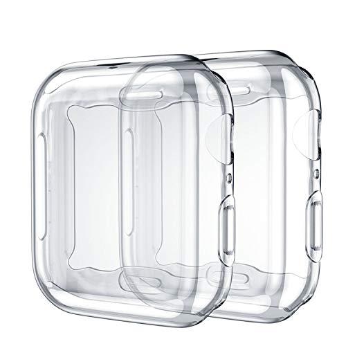 Upeak 2 Stück Hülle mit Displayschutz Kompatibel mit Apple Watch Series SE/6/5/4 40mm, TPU Rundum Schutzhülle Case für Series 4/5, Klar/Klar