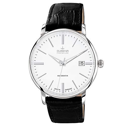 Dugena Herren Automatik-Armbanduhr, Saphirglas, Uhrwerk mit 24 Steinen, Festa Klassik, Schwarz/Weiß, 7000190