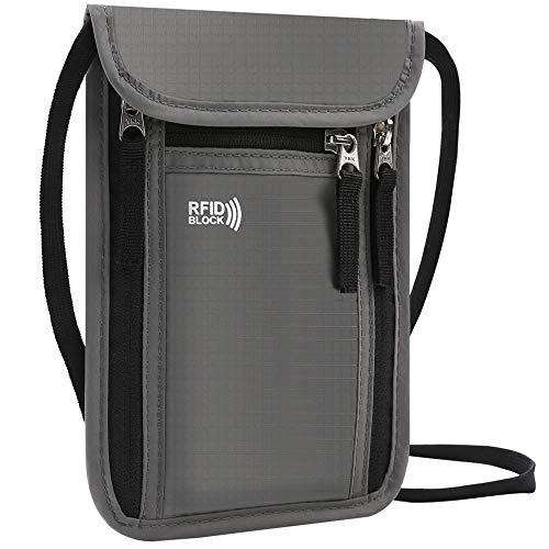 KEAFOLS Brustbeutel Brusttasche mit RFID-Blockierung leichte Reisegeldbeutel Tasche Sicherheit Umhängegeldbeutel für Passport, Kreditkarten, Münzen und Reise Zubehör MEHRWEG