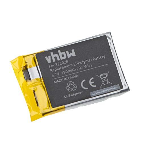 vhbw Akku kompatibel mit Tomtom Multisport, Runner Cardio Smartwatch Uhr Fitnessarmband (190mAh, 3,7V, Li-Polymer)
