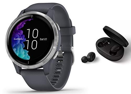 Garmin Venu - GPS Fitness Smartwatch - Musicplayer Herzfrequenzmessung - granitblau inkl. Bluetooth Headset