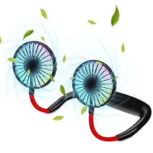 MOMMED tragbarer Ventilator zum Mitnehmen - USB Nackenventilator mit Batterie Akku zum Aufladen - Mini Ventilator mit LED - Praktischer Outdoor Reiseventilator - Kleiner Fan