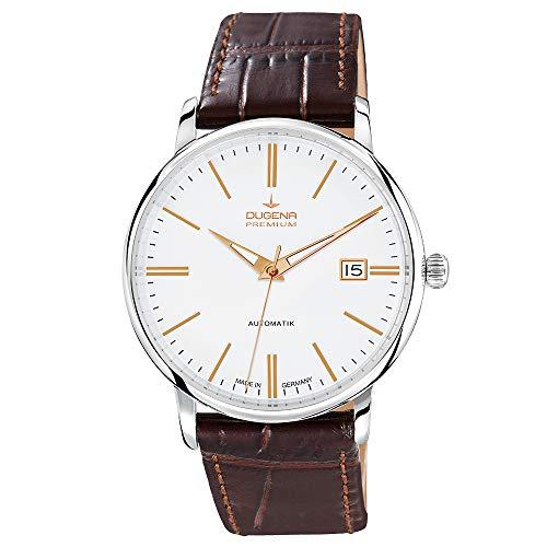 Dugena Herren Automatik-Armbanduhr, Saphirglas, Uhrwerk mit 24 Steinen, Festa Klassik, Braun/Weiß, 7000191