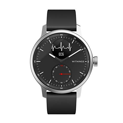 Withings Unisex-Adult Scanwatch 42mm Black Hybrid Smartwatch mit EKG, Herzfrequenzsensor und Oximeter, schwarz