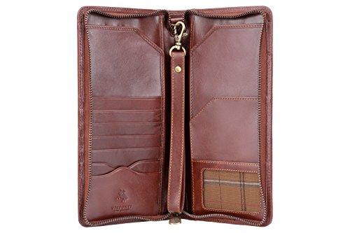 Visconti Leder Unisex Reise Flug Brieftasche Polo Purse Wallet(1157): (italienisch braun (Italian Brown))