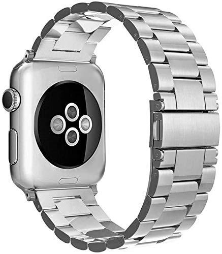 Simpeak Armband kompatibel mit Apple Watch 44mm 42mm Series 6/SE/5/4/3/2/1, Edelstahl Uhrenarmband Ersatz Armbänder mit Metallschließe Kompatibel für Apple Watch - Silber