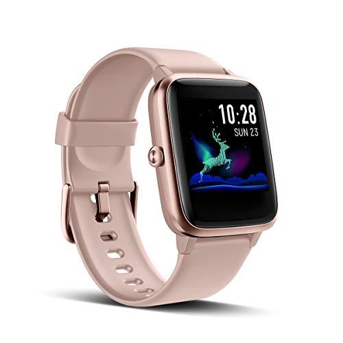 LATEC Smartwatch, Fitness Armband Voller Touch Screen Fitness Tracker IP68 Wasserdicht Fitness Uhr mit Pulsuhren Schrittzähler Schlafmonitor Damen Herren Armbanduhr Sportuhr für iOS Android (Rosa)
