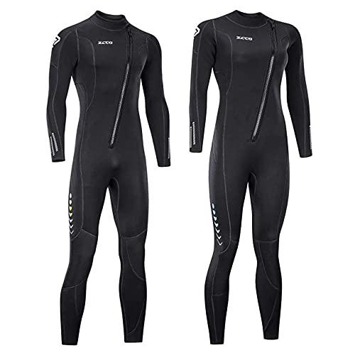 ZCCO Ultra-Stretch-Neoprenanzug, 3 mm, Frontreißverschluss, Ganzkörper-Tauchanzug, einteilig, für Männer und Frauen, Schnorcheln, Tauchen, Schwimmen, Surfen, Frauen XXL