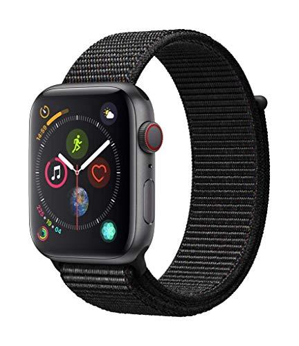 Apple Watch Series 4 GPS + Cellular, 44mm Aluminiumgehuse, Space Grau, with Black mit Sport Loop