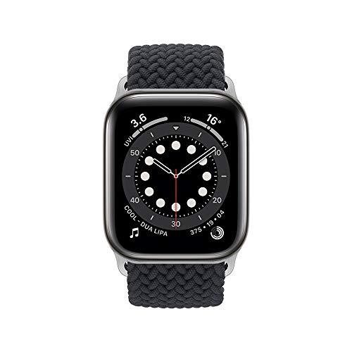 InvokerTech Braided Armband Kompatibel für Apple Watch 40/38mm 44/42mm, Gewebtes Solo Loop Ersatzarmbänder Kompatibel mit iWatch Series 6/5/4/3/2/1/SE (44/42mm - S, Holzkohle)