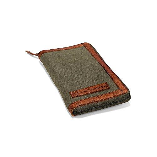 DRAKENSBERG Reise-Geldbörse und Reisepass-Etui, Organizer für Reise-Dokumente und Währungen, Vintage-Design, Kimberley-Travel-Wallet, Canvas und Echt-Büffel-Leder, Oliv-grün, braun, DR00171