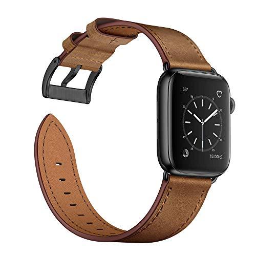 Arktis Lederarmband kompatibel mit Apple Watch (Series 1, Series 2, Series 3 mit 42 mm) (Series 4, Series 5 mit 44 mm) Wechselarmband [Echtleder] inkl. Adapter - Vintage Braun