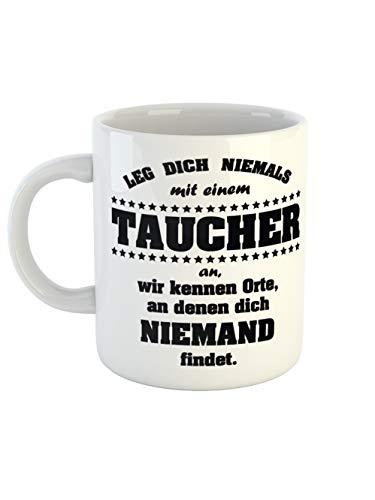 clothinx Kaffeetasse mit Aufdruck Leg Dich Niemals Mit Einem Taucher An | Tauchsport Design Für Hobby und Profitaucher | Ergänze Deine Tauch-Ausrüstung Mit diesem lustigen Spruch