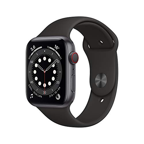 Apple Watch Series 6 (GPS + Cellular, 44 mm) Aluminiumgehäuse Space Grau, Sportarmband Schwarz