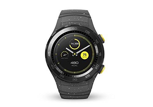 HUAWEI Watch 2 (Bluetooth) Smartwatch mit grauem Sportarmband (NFC, Bluetooth, WLAN, Android Wear/Wear OS by Google) grau