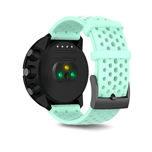 Ficocean 24mm Ersatz Uhrenarmband, Silikon Armband Sport Ersatzband Wechselarmband Uhrband Kompatibel für Suunto 7 /Suunto 9 /Suunto Spartan Sport Wrist HR Baro /Suunto D5 (Blaugrün, S)