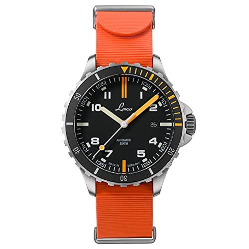 LACO Sportuhr Mojave.RB, Armbanduhr, orangenes Kautschukband, Saphirglas, Ø 42 mm, Automatik, inkl. Etui - 862109.RB